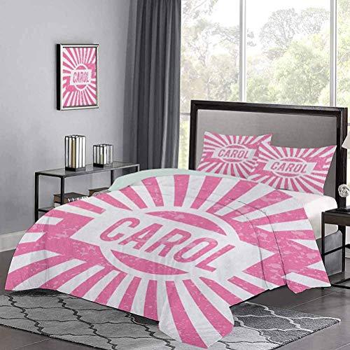 Yoyon Steppdecke Grafik Beliebte Name Design für Mädchen Pastellfarben Kinder Kinder Geburtstag Hotel Stich Bettbezug Set Machen Sie Ihr Bett Spaß und bequem blass rosa und weiß