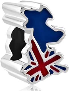 QueenCharms Patriotic Proud To Be American Flag Country Of USA UK CA DE FR Map Charm For Bracelets