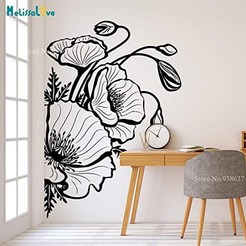 Papaver bloem sticker plant thema behang grote sticker sticker decoratie waterdichte muurschildering verwijderbare vinyl muursticker <> 42x60cm