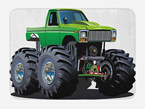 Ambesonne Cars Bath Mat, Giant Monster Pickup Truck Huge Tires and Suspension Extreme the Biggest Wheels Graphic Racing Print, Plush Bathroom Decor Mat with Non Slip Backing, 29.5' X 17.5', Green Grey
