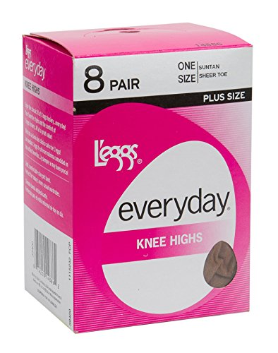 L eggs Everyday Knee High 8 Pair Pack - Plus Size Jet Black