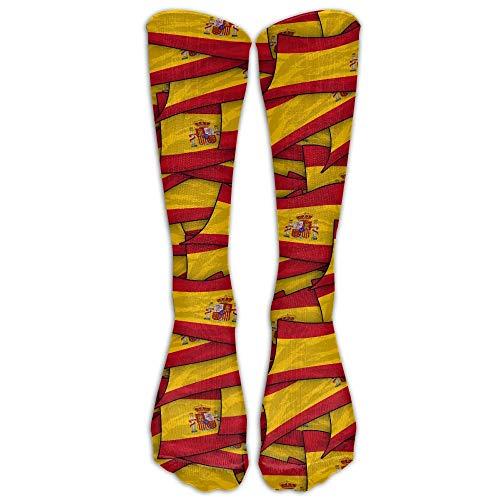 Calcetines de compresión con bandera de España, calcetines largos para correr, médicos, atletismo, edema, diabético, varicosas, viajes, embarazo, espinilleras, enfermería.