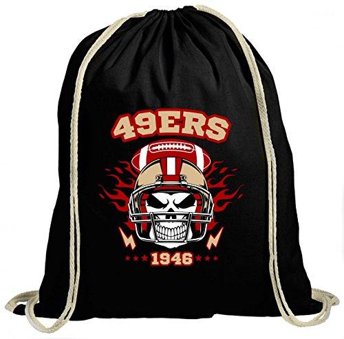 Shirt Happenz 49ers Skull Premium Turnbeutel | American Football | Totenkopf | Football-Helm | Unisex | Gymbag, Farbe:Schwarz (Gymbeutel);Größe:37cm x 46 cm