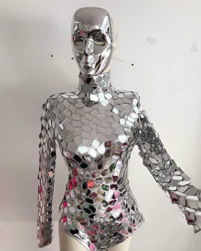 Shining Sequins Bodysuit Maschinentanz Kostüm Silbrig Spiegel Trikot Jumpsuit Lady Jazz Clubwear DJ Sänger Bühnenoutfit