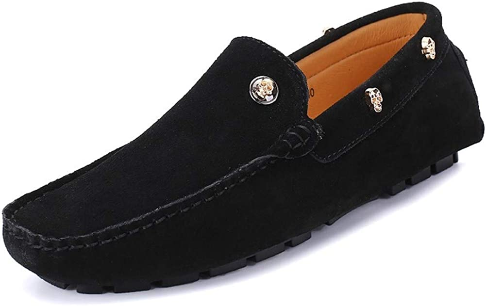 DADIJIER Loafers for Men Casual Driving Shoes Slip-on Lug Sole Genuine Leather Suede Square Toe Stitched Golden Skull Decor