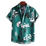 ZAIZAI Verano camisas para hombre de la manga de los hombres de Calle en cortocircuito las camisas ocasional de la camisa de la blusa de leopardo de impresión de Hawai Hombres