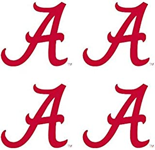 University of Alabama (UA) Crimson Tide – Waterless Peel & Stick Temporary Spirit Tattoos – 4-Piece – Crimson A Logo