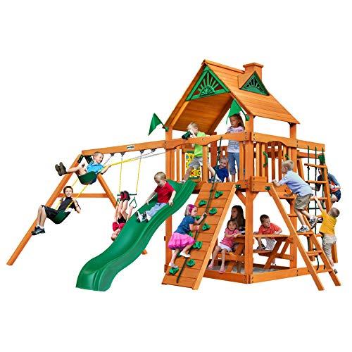 Gorillaplay Sets Home Backyard Playground Navigator Swing Set with Amber Posts