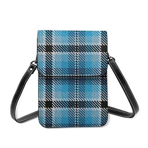 Bolso de hombro pequeño, azul turquesa y azul colonial, negro y blanco a cuadros, bolso cruzado para teléfono celular, cartera ligera para mujeres y niñas