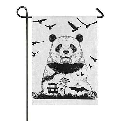 ALARGE Gartenflagge abstraktes Tier-Panda, Kung-Fu, doppelseitig, vertikal, Banner, Flaggen für Party, Urlaub, Hof, Heimdekoration, 30,5 x 45,7 cm, Multi, 28x40 inches