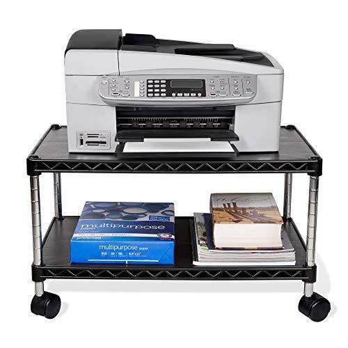 ZBRANDS // Carro de impresora Max, 24 x 14 pulgadas, soporte de fax móvil con ruedas giratorias, acabado negro, 2 niveles resistentes...