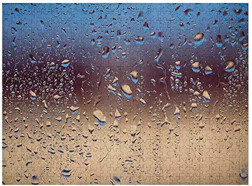 Rompecabezas de lluvia para niños de 3 a 5 años de 500 piezas, primer plano, gotas de lluvia sobre vidrio, aerosoles naturales, esfera, colores en contraste, imagen, azul tostado marrón