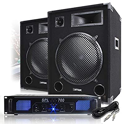 Max 15 inch PA Speakers with Power Amplifier and Cable Party Disco DJ System 2000W