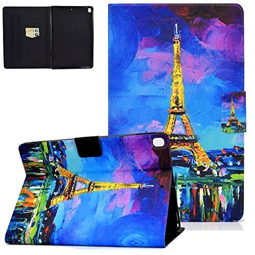 UGOcase iPad 10.2 Case 2019, iPad Air 3rd Gen 2019/iPad Pro 10.5 2017 Case with Card Slots, Auto Sleep Wake PU Leather Protective Folio Stand Shell for iPad 7th Generation 10.2' 2019 - Eiffel Tower