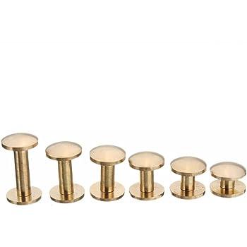 6.5mm Rivets /à clous en laiton massif Vis /à clous /à visser pour ceinture en cuir Rivet DIY Or 10sets 5//6.5 8mm
