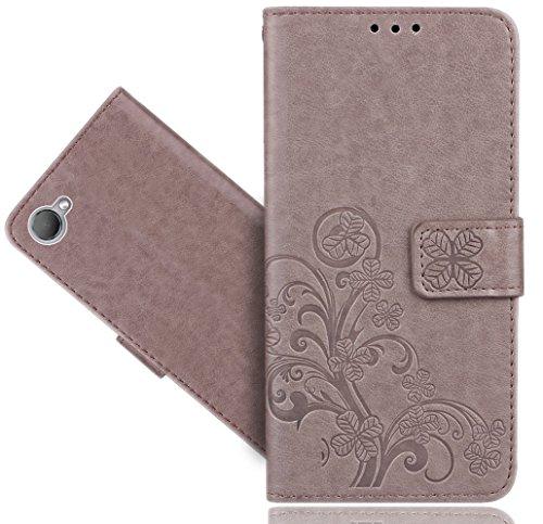 HTC Desire 12 Handy Tasche, FoneExpert® Wallet Hülle Cover Flower Hüllen Etui Hülle Ledertasche Lederhülle Schutzhülle Für HTC Desire 12