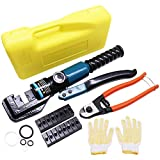 BLIKA 10 Ton Hydraulic Wire Battery Cable Lug Terminal Crimper Crimping Tool with 9 Dies and Cable Cutter, for 1/8