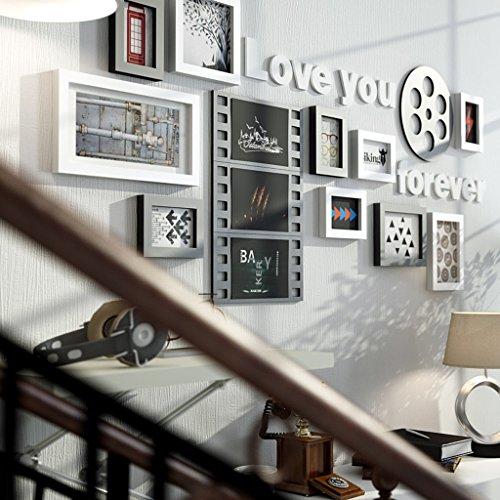 TING- 10 Multi Picture Frame Set Estilo Industrial Madera Negro Blanco Rojo-marrón DIY Foto Cuadro Pared Cuadro Combinación Escalera Pintura decorativa, 154 * 67cm ( Color : #B )