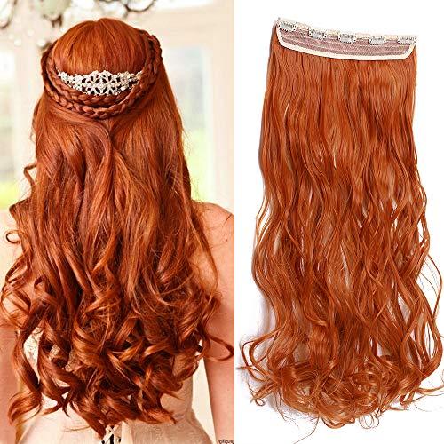 61cm Haarteil Clip in Extensions 1 Tresse 5 Clips Haarverlängerung Human Hair wie Echthaar Gewellt Orange 24