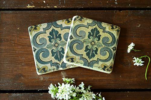 Jugendstil 2er Set Untersetzer Fotografie lost Place verlassenes Haus aus Travertin Stein Fliese, handmade coaster