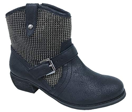 Ladies Faux Leather Ankle Biker Boots Buckle Strap Side Zip Black Size UK...
