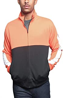 Victorious Men's Tri-Colored Solid and Striped Luxury Brand Style Zipper Track Jacket