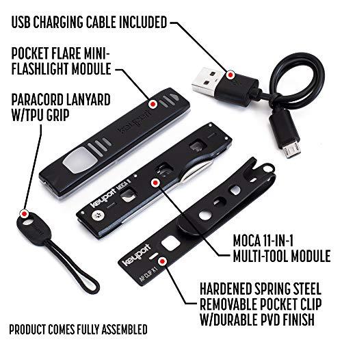 Keyport Anywhere Tools Utility Bundle - MOCA 11-in-1 Keychain Tool + Pocket Flare Mini Flashlight Keychain - Compact EDC Gear with Pocket Clip + ParaPull Cord - TSA Friendly Multitool Keychain