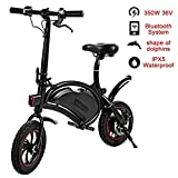 shaofu Folding Electric Bike 350W 36V Electric Bicycle Waterproof E-Bike with 15 Mile Range, Collapsible Frame, and APP Speed Setting (Black-6AH)