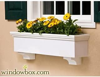 42 Inch New Haven Direct Mount No Rot PVC Composite Flower Window Box w/ 2 Decorative Brackets