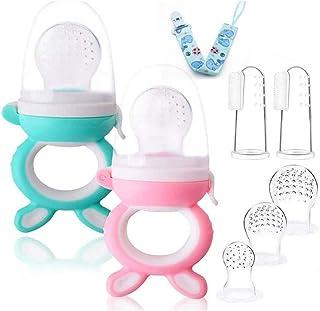 Voarge Ssawka do owoców, dla niemowląt i małych dzieci, nie zawiera BPA, smoczek do wężyków (różowo-niebieski)