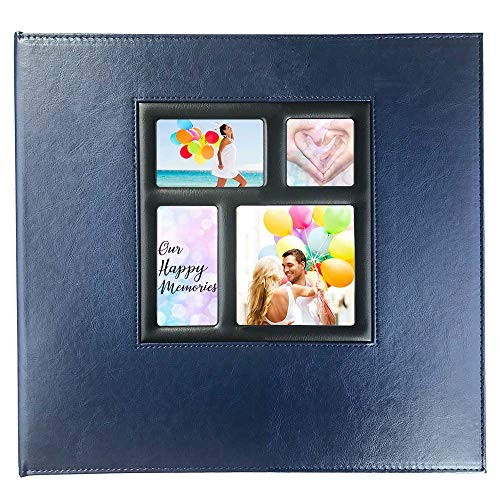 Photo Album 4x6 610 Photos, Pages Expandable, Leather Cover 4 Ring Binder Large Photo Album Holds 610 Vertical and Horizontal Photos for Baby, Family, Wedding, Anniversary (Navy Blue)