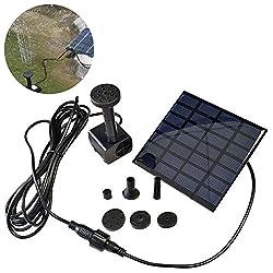 【Solar Teichpumpe】Solarmodul Power: 7V/1.2W, Luftvolumen: Max. 180L/Std. Höhe von der Wassersäule: Max. 100cm. Abmessung des Solarmoduls: 110x110mm, Bürstenlose Solar Pumpe: 4.5-12V, Eigengewicht: 250g. 【Umweltfreundlich und Energiesparend】Arbeit ohn...