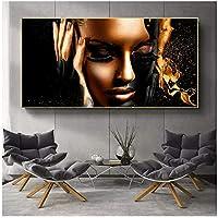 アフリカ系アメリカ人のブラックゴールドヌード女性油絵キャンバスポスターとプリントスカンジナビアの壁の写真リビングルーム40x80cm(16x32in)