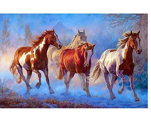 Generic Brands Berryart Paintworks Pintura al óleo por número Kit para adultos y niños principiantes – Tres caballos en la nieve 40,6 x 50,8 cm (sin marco)