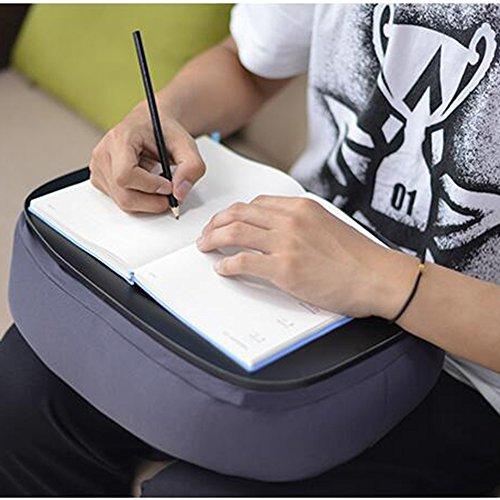 Zhuozi FUFU Wandhalterung Home Bamboo Lap Desk Kissen gepolstert Laptop Zubehör Buch Stehen ideal für Bett Couch Tisch Sofa Stuhl Drop-Blatt-Tabelle (Farbe : Gray)