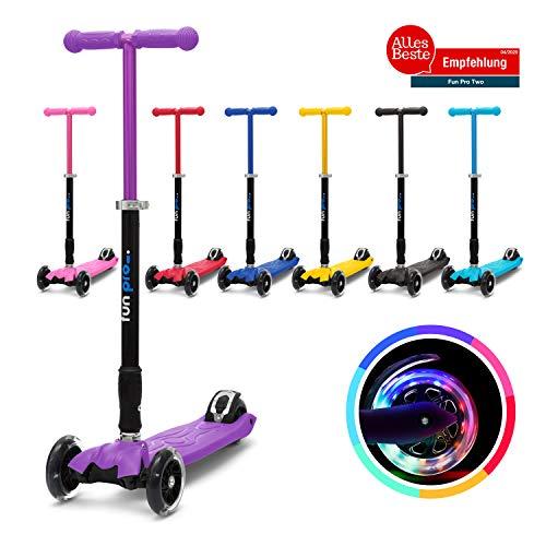 fun pro Two - ab etwa 5 Jahre, bis 80KG Gewicht, der sichere Premium Kinder Roller, LED Räder, faltbar, (Kickboard, Tretroller), TÜV geprüft (Lila)
