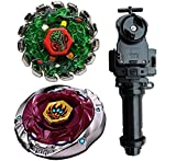 MSTWXL WXL-US Metal Fusion L-Drago BB-108 F:S Metal 4D High Performance Generic Battling Tops and Poison Serpent SW145SD Metal 4D High Performance BB-69 Toys with Black String Launcher+Grip Set