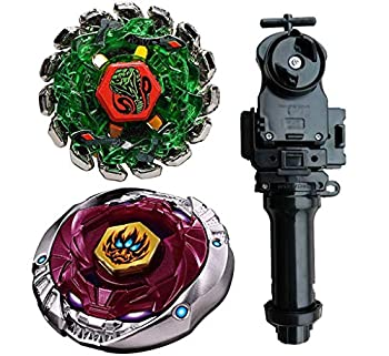 MSTWXL WXL-US Metal Fusion L-Drago BB-108 F S Metal 4D High Performance Generic Battling Tops and Poison Serpent SW145SD Metal 4D High Performance BB-69 Toys with Black String Launcher+Grip Set