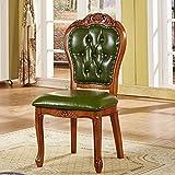 CESULIS Silla de comedor de madera maciza europea suave, sillón tallado de cuero americano, silla de negociación de hotel de gama alta, mesa Mahjong de ocio (color verde claro)