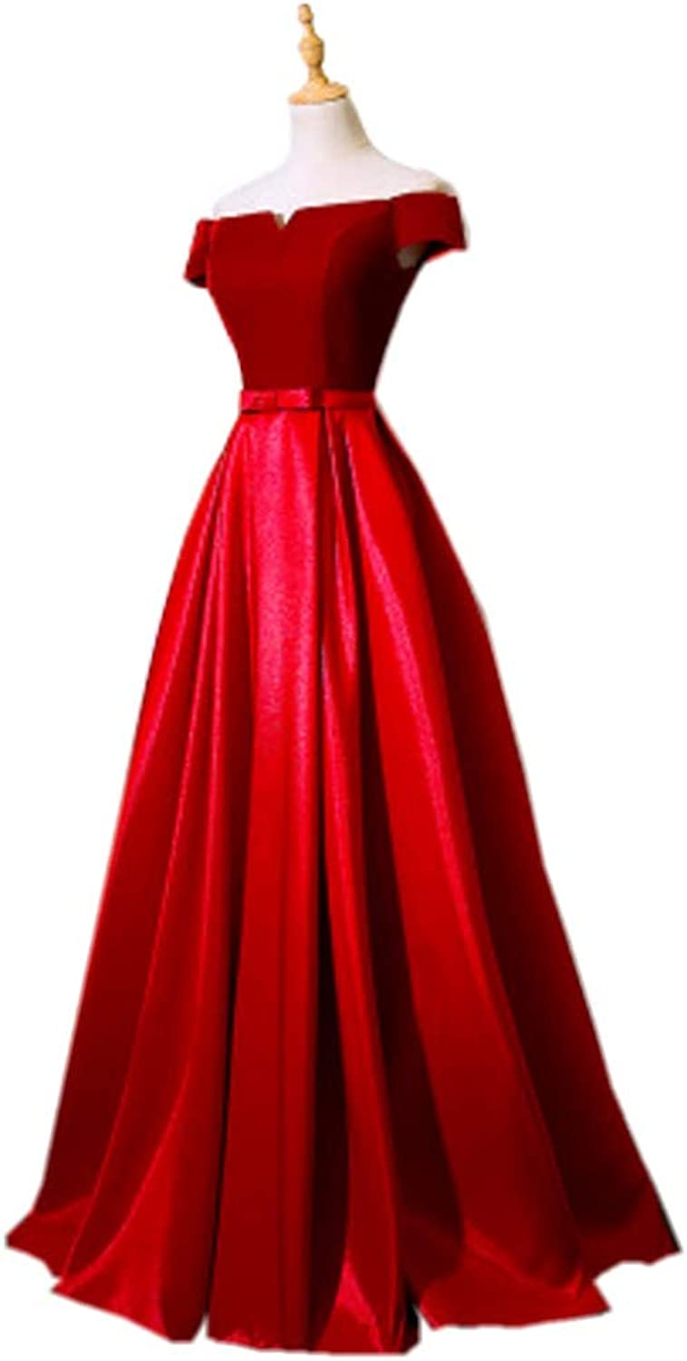 YIMISTYLE DRESS Women's Women's Off The Shoulder Satin Bow Long Prom Gowns Evening Dresses