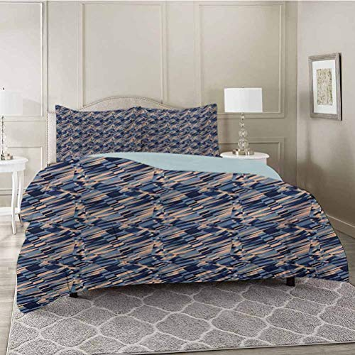 YUAZHOQI 3 Pieces Modern Style Duvet Cover Set, Diagonal Geometric Pattern Intersecting Lines and Waves with Fractal Effects, Ultra Soft, Breathable and Hypoallergenic for All Season, King Size