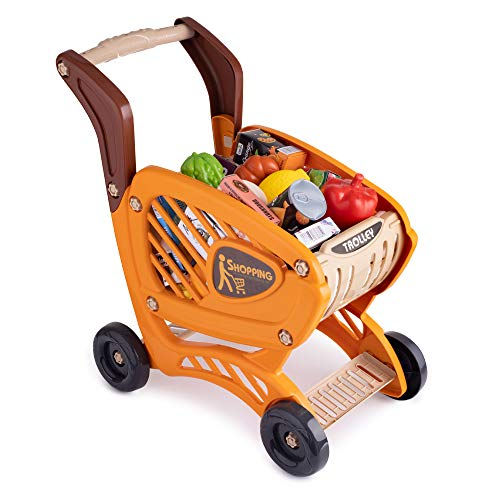 Shopping Cart Toy | Grocery Cart for Kids | Kids Grocery Carts | Kids Shopping Cart with Food | Play Grocery Cart | Toddler Shopping Cart for 2 Year Old | 42pc Realistic Pretend Play Food and Money