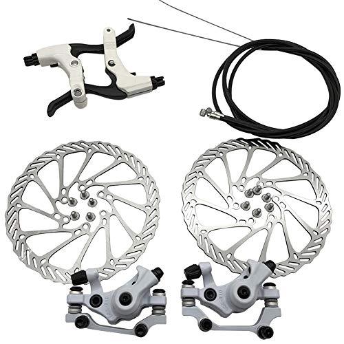 Discos de freno de disco de bicicleta, juego de frenos de disco mecánicos, estribo delantero trasero 160 mm para las piezas de bicicleta de equitación de bicicleta de carretera de montaña (negro)