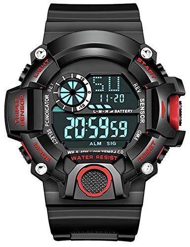 Digital Herren Uhren Militär Große Draussen Wasserdicht Design Armee Armbanduhr LED Casual Armbanduhr für Herren Jungen 50M Gummi Schwarz Wecker/Kalender/Stoppuhr/Stoßfest Rot