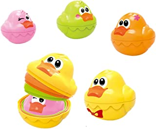 Anniston Kids Toys, 4Pcs/Set Baby Bath Floating Colorful Duck Stacking Development Learning Kids Toy Puzzles & Magic Cubes...