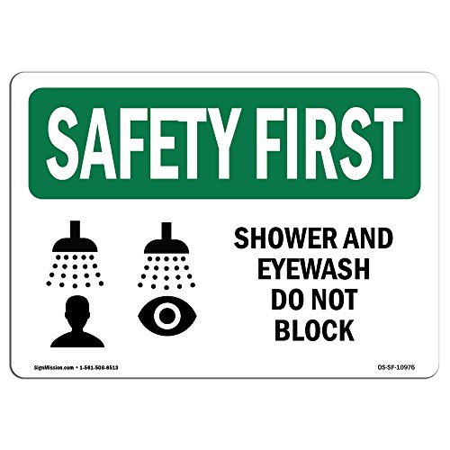 OSHA Safety First Sign - Shower and Eyewash Do Not Block with Symbol | Rigid Plastic Sign | Protect Your Business, Work Site, Warehouse | Made in The USA