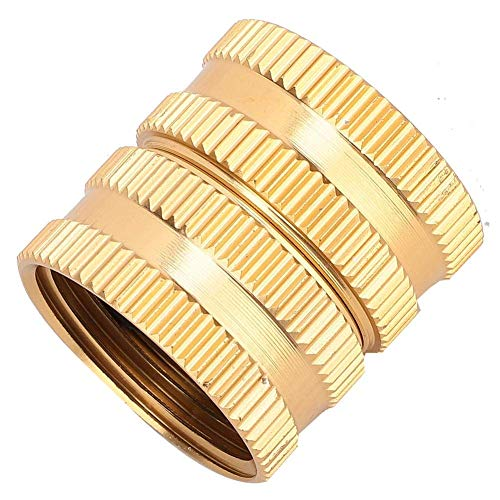 XQHLD Hose Tap Connector, 3/4inch Brass Hose Tap Connector Valve Connector Threaded Garden Water Pipe Adaptor with Gasket