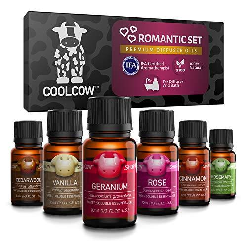 COOLCOW Romantic Essential Oils Set - 100% Therapeutic Grade Oils for Aromatherapy Diffusers, Natural and Pure Essential Oils Vanilla, Cinnamon, Rose, Geranium, Cedarwood, Rosemary, (6 x 1/3fl.oz)