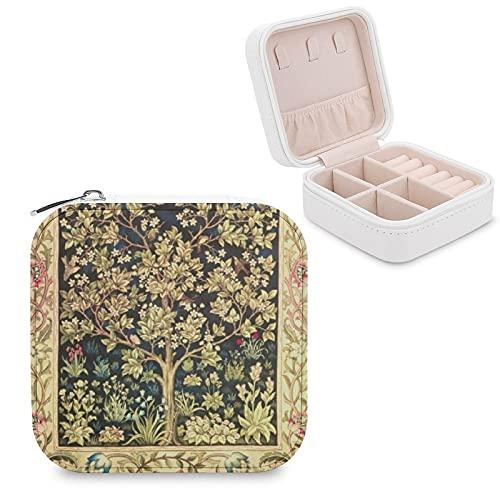 Caja organizadora de joyas de viaje para niñas, mujeres, regalo, William Morris Árbol de la vida, floral, vintage, estuche de almacenamiento portátil para anillos, pendientes, collares