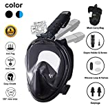 Ufanore Full Face Snorkel Mask, Snorkel Mask with Detachable Camera Mount & Foldable 180° Panoramic View, Free Breathing & Anti-Fog & Anti-Leak Snorkerling mask for Adult